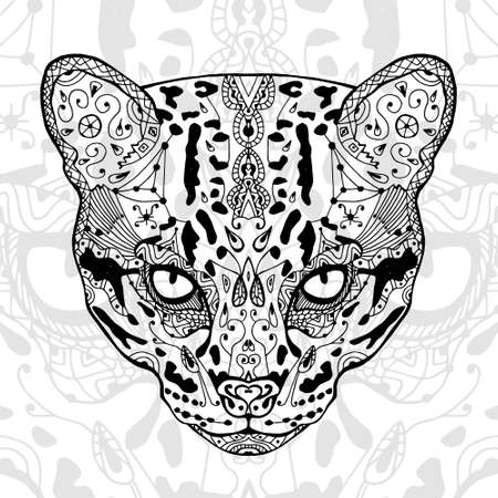 The Black And White Wild Cat Print With Ethnic Patterns Coloring Book For Adults Antistress