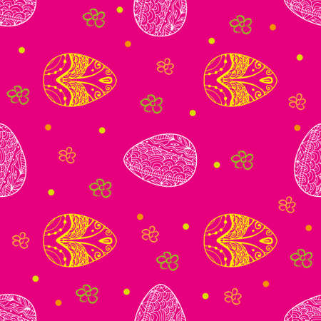 rosy: Easter seamless pattern with eggs and flowers on the pink background Illustration