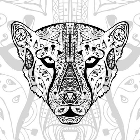 El Leopardo Blanco Y Negro De Impresión Con Patrones étnicos. Libro ...