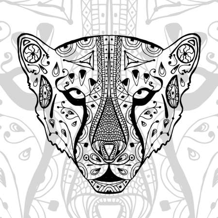 rehab: The black and white cheetah print with ethnic patterns. Coloring book for adults antistress. Art therapy, zenart, meditaion. The image on the fabric, tattoo, vector Illustration