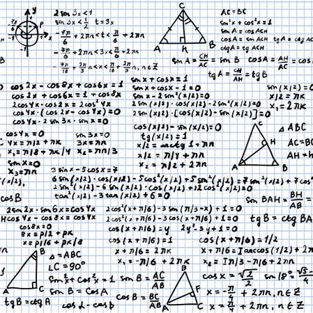 algebraic: the trigonometric pattern seamless on a plaid background, handwriting text and mathematical formulas, vector
