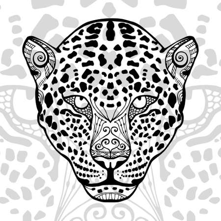 meditaion: The black and white leopard print with ethnic patterns. Coloring book for adults antistress. Art therapy, zenart, meditaion. The image on the fabric, tattoo