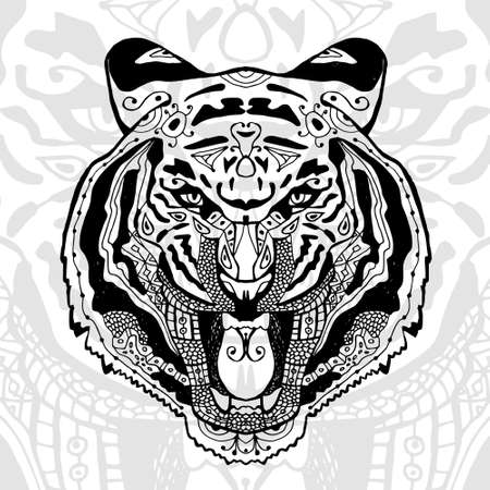 tiger print: The black and white tiger print with ethnic patterns. Coloring book for adults antistress. Art therapy, zenart, meditaion. The image on the fabric, tattoo