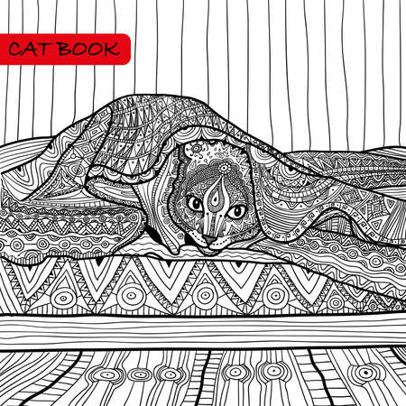 coverlet: coloring book for adults - cat book, ink pen, black and white background, intricate pattern, doodle Illustration