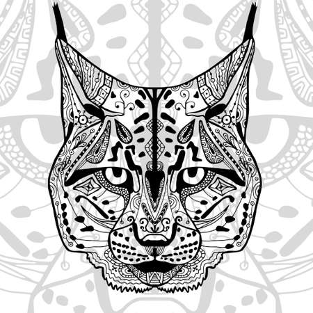 The black and white bobcat print with ethnic patterns. Coloring book for adults antistress. Art therapy, zenart, meditaion. The image on the fabric, tattoo