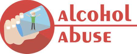 un alcoolique se noie dans un verre de vodka - main illustration tirée de l'abus d'alcool - Vector design plat