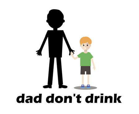 drunkard: smiling boy beside his father an alcoholic. dad dont drink - vector flat design