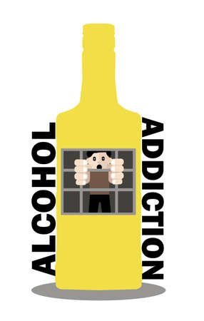 cheeky: an alcoholic man grabbed the window bars of the prison - bottle and asks for help - Vector flat design