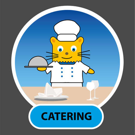 laid: cartoon character - cat cook with a tray laid across the table, vector, profession, catering, illustration tutorial for kids