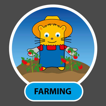grew: drawn character - a happy cat is a farmer grew tomatoes on their land, vector, illustration profession in the textbook for children