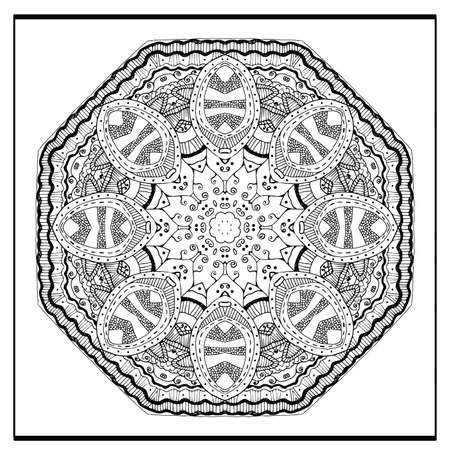 adults: mandala - coloring book page for adults, relax and meditation, vector Illustration