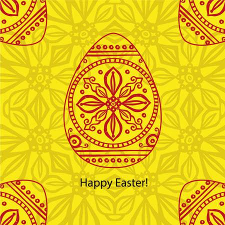 Vector doodle Easter card. Original decorative red illustration for print Vector Illustration