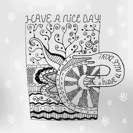 Hand Drawn Mug With Zen Tangle Patterns And Wish A Nice Day Stock Inspiration Tangle Patterns