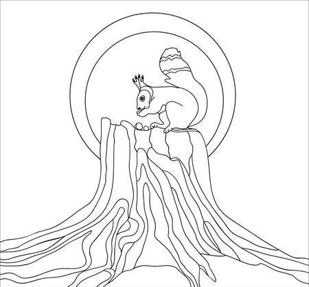 The squirrel on a stumpl, coloring page for art-therapy, illustration in doodle style. monochrome sketch with geometric pattern isolated on white background.