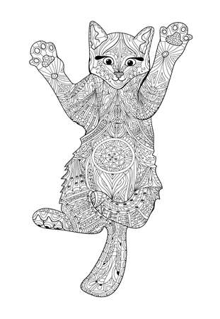 Funny kitten - coloring book for adults - cat book, hand drawn illustration Vetores