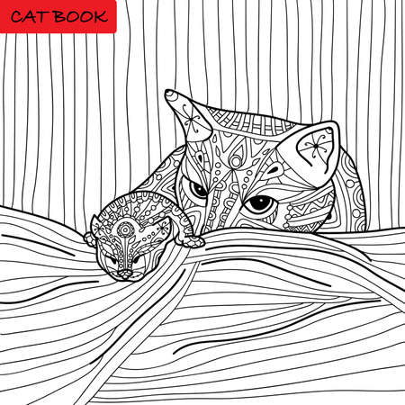 Cat mother and her kitten - coloring book for adults - cat book, hand drawn illustration Illustration