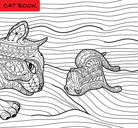 preoccupation: Cat mother and her kitten - coloring book for adults - zentangle cat book, hand drawn illustration