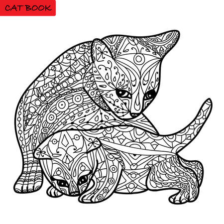 Cat mother and her kitten - coloring book for adults - zentangle cat book, hand drawn isolated illustration