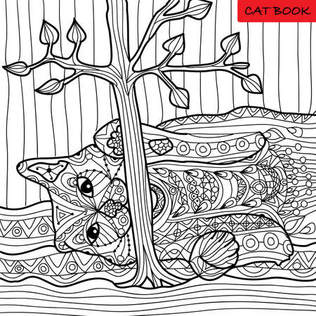 naughty: Naughty cat - coloring book for adults, zentangle patterns, hand drawn illustration