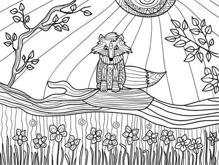 Coloring book pages for adults: funny fox cub on fallen tree Illustration