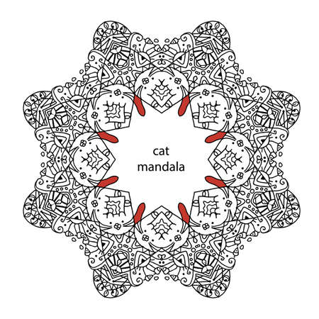 enthusiasm: cat mandala - coloring book page for adults, relax and meditation
