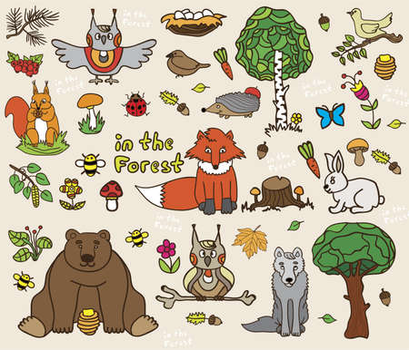 bugs bunny: The forest dwellers - forest elements in doodle style, hand drawn illustration Illustration