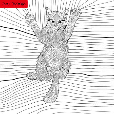 coloring book for adults - kitten on the blanket Vettoriali