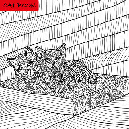 distinct: coloring book for adults - kittens on the book