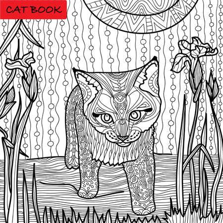 explores: little kitten explores the world, hand-drawn monochrome picture