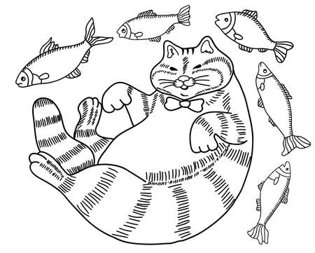 petshop: black and white drawing of a cat - a fat happy well fed cat surrounded by fish - coloring book for adults, hand drawn illustration Illustration