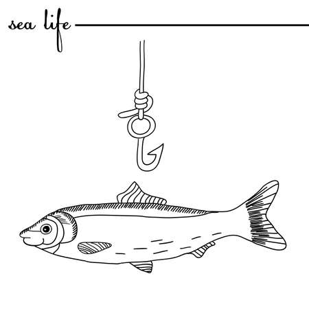 herring: Sea life.  The herring and fishing hook. Original doodle hand drawn illustration. Outlines