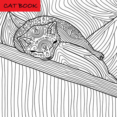 Coloring cat page for adults. Funny baby kitten sleeping on the pillow. Hand drawn illustration with patterns. Zenart Illustration