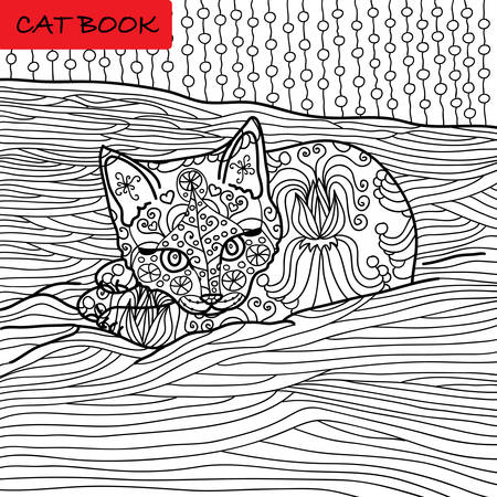 preoccupation: Coloring cat page for adults. Adorable baby kitten lying on the sofa. Hand drawn illustration with patterns. Zenart