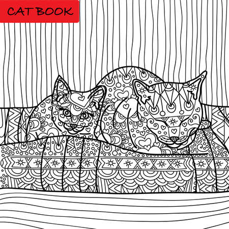 coverlet: Coloring cat page for adults. Mama cat and her baby kitten sitting on sofa. Hand drawn illustration with patterns. Zenart Illustration