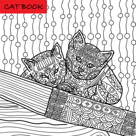 Coloring cat page for adults. Two funny kitten sitting on book. Hand drawn illustration with patterns. Zenart Illustration