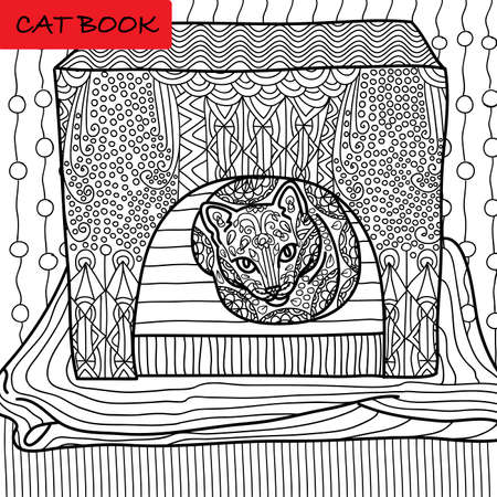 Coloring cat page for adults. Serious cat sits in his cat house. Hand drawn illustration with patterns. Zenart