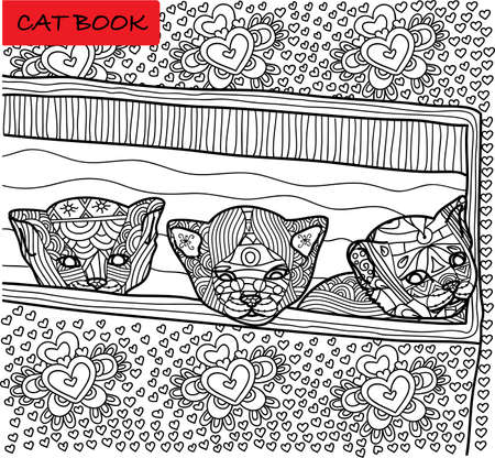 cranky: Coloring cat page for adults. Three newly born kitten peeking out of box. Hand drawn illustration with patterns. Zenart Illustration