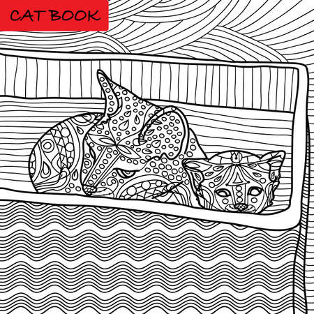 Coloring cat page for adults. Mama cat and her kitten sitting in a box.  Hand drawn illustration with patterns. Zenart Ilustração