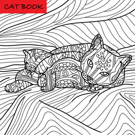 Coloring cat page for adults. Cat mom playing with her baby kitten. Hand drawn illustration with patterns. Zenart