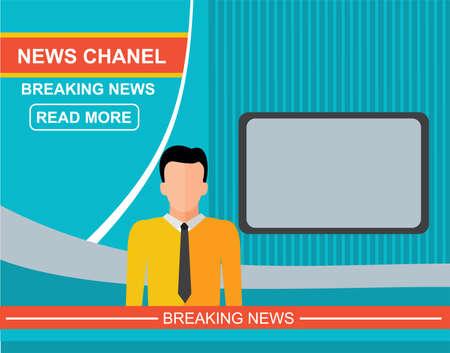 Anchorman à la télé, nouvelles annonceur dans le studio.