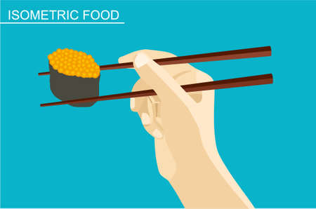sushi set: Isometric sushi set. Japanese seafood vector. Asian restaurant food. The hand holds a roll with caviar Illustration
