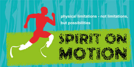 amputation: Motivation sport concept. Motivational poster. Inspiration image. Running disabled athlete. Motivational quote on blue grunge background. Physical limitations - not limitations, but possibilities Illustration