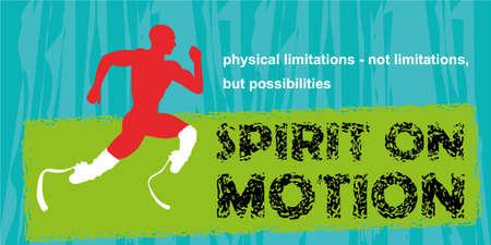 limitations: Motivation sport concept. Motivational poster. Inspiration image. Running disabled athlete. Motivational quote on blue grunge background. Physical limitations - not limitations, but possibilities Illustration