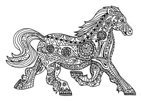textura: La stampa cavallo bianco e nero con etnica