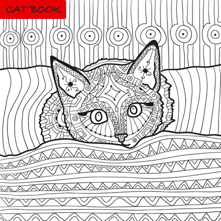 coverlet: zentangle cat book, the kitten on the bed, coloring book for adults, cat book, coloring page, zenart Stock Photo