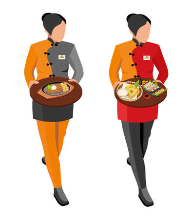 soy sauce: Japanese seafood restaurant vector. Flat illustration. Waitress girl in uniform holding trays of Japanese dishes: meat and potatoes, sushi set, grilled squid and soy sauce, isometric illustration