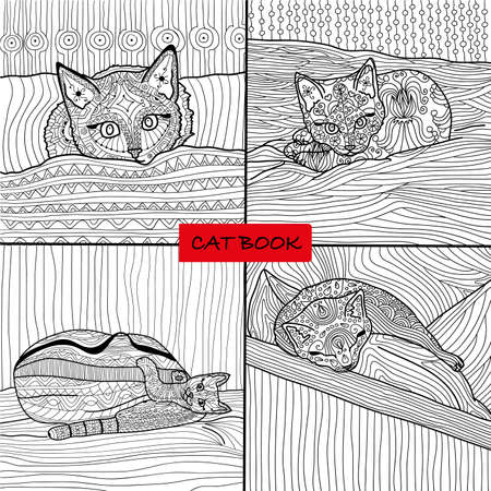 coverlet: Coloring book for adults - 1 set of four drawings coloring cat pages
