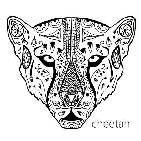 Le guépard noir et blanc imprimer avec des motifs ethniques. Coloriage livre pour adultes antistress. Art-thérapie, zenart, meditaion. L'image sur le tissu, tatouage, vecteur