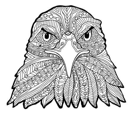L'impression de l'aigle noir et blanc avec des motifs ethniques. Coloriage livre pour adultes antistress. Art-thérapie, zenart, meditaion. L'image sur le tissu, tatouage, vecteur
