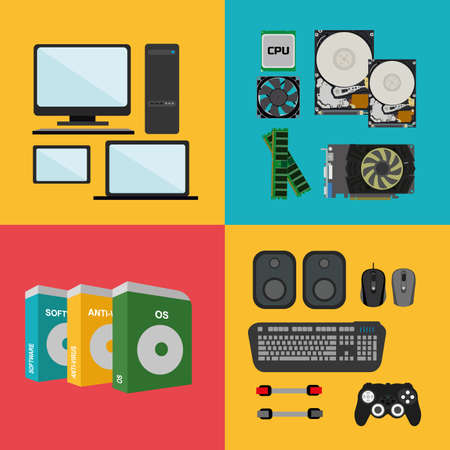 hard component: Flat design concept of computer store, sale of computers, laptops, components: motherboard, RAM, cooler, hard disk, cpu, video card and software and accessories